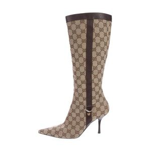 Gucci Gg Logo Canvas Pointed Toe Boot In beige Ben